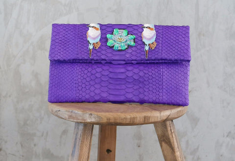 Purple Birds Leon Small Patched Clutch customized by Suzette Creative Team