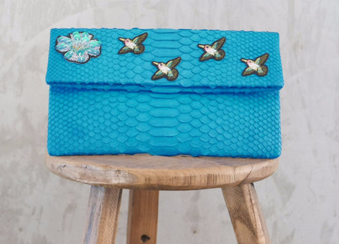 Turquoise Birds Leon Small Patched Clutch customized by Suzette Creative Team