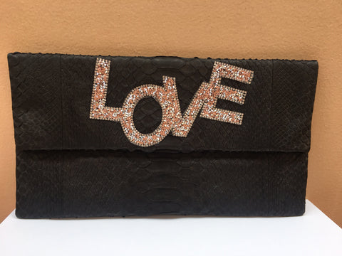 Black Love Python Large Clutch customized by Fedri - art of shop  - 1