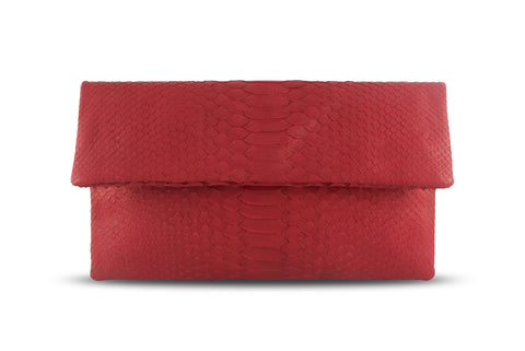 Leon Small Python Clutch Red