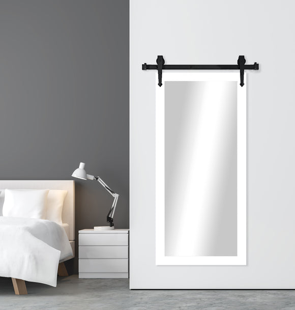 American Made White Satin Wall Mirror with 3' Barn Door Kit (DV036-3V) *Suggested Retail*