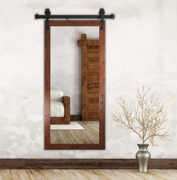 American Made Rustic Dark Walnut Wall Mirror with 3' Barn Door Kit (DV061-3V) *Suggested Retail*