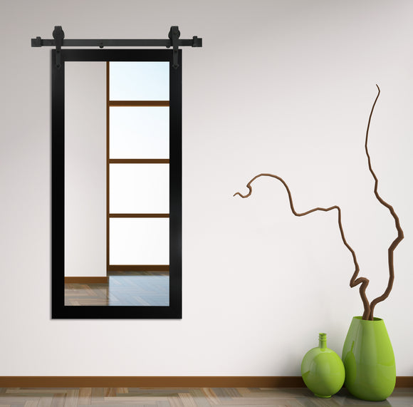 American Made Black Satin Wall Mirror with 3' Barn Door Kit (V035T) *Suggested Retail*
