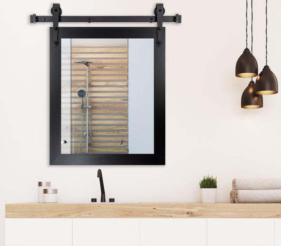 American Made Black Satin Wide Wall Accent Mirror with 3' Barn Door Kit (V035-3V)  *Suggested Retail*