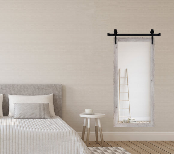 American Made White Washed Antique Non-Beveled Tall Mirror with 3' Barn Door Kit (V059CVXT/T-3V) *Suggested Retail*