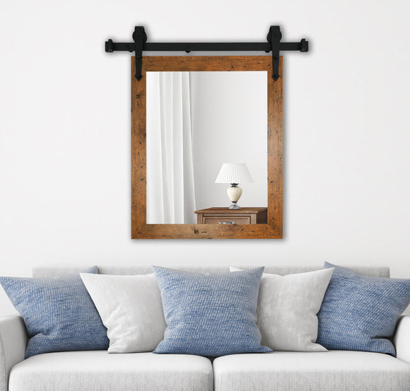 American Made Rustic Light Walnut Accent Mirror with 3' Barn Door Kit (V062-3V)  *Suggested Retail*