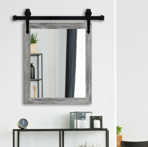 American Made Grey Barn Wood Accent Mirror with 3' Barn Door Kit (V064-3V)  *Suggested Retail*
