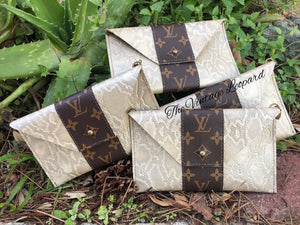 Allie Upcycled LV & Leather Beige Python Mini Cellphone Crossbody