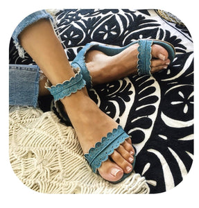 Bali Leather Midsummer Antique Blue Scalloped Flat Sandals