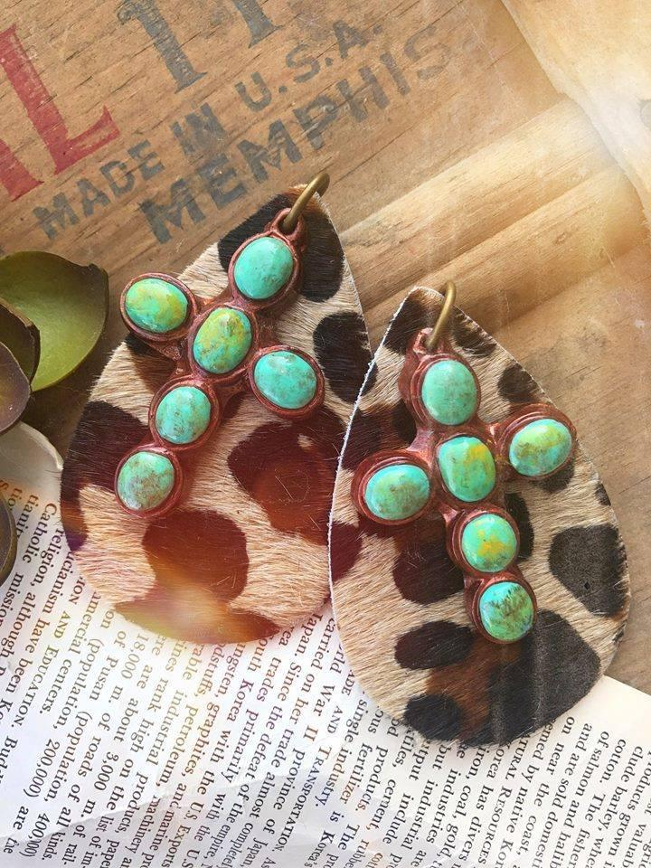 Sookie Sookie Leather & Turquoise Katherine Earrings