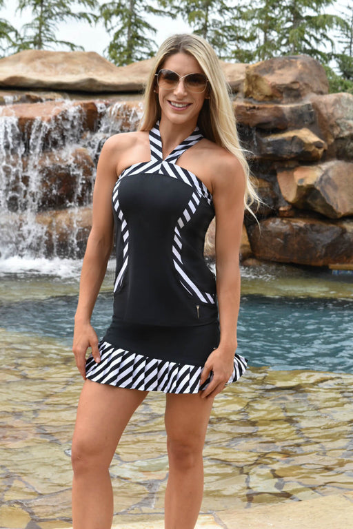 NEW! Contrast Curves Racerback Golf Polo - Black with Striped Trim - FlirTee Golf