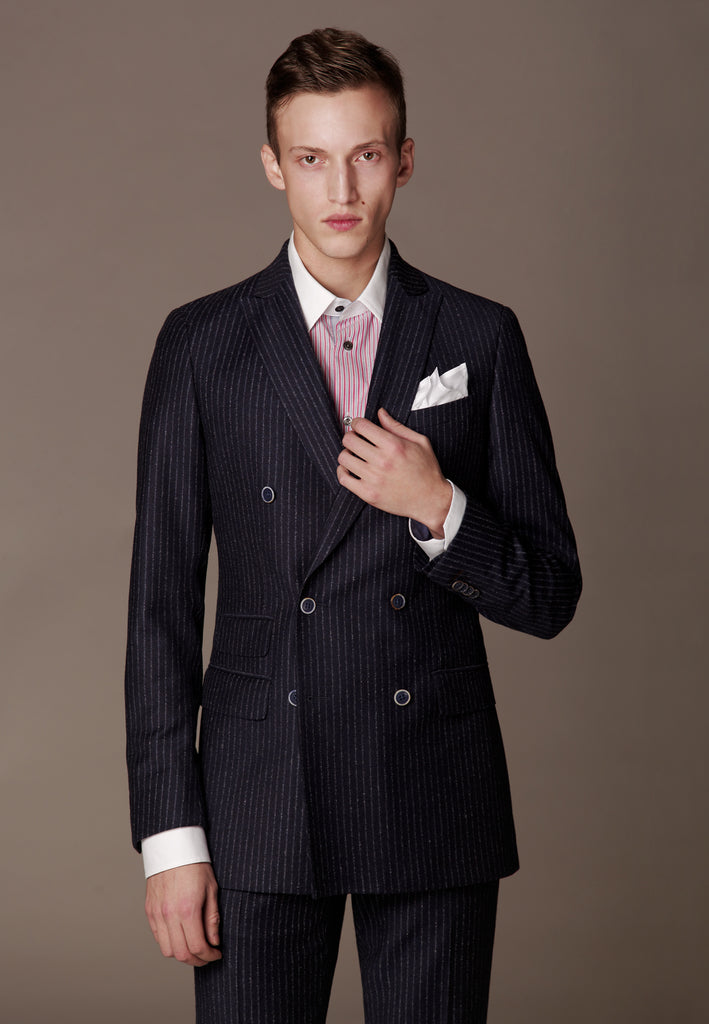 Modern Double Breasted Suit made of Loro Piana Superfine Wool