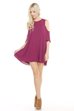 Magenta Cold Shoulder Dress, Dresses