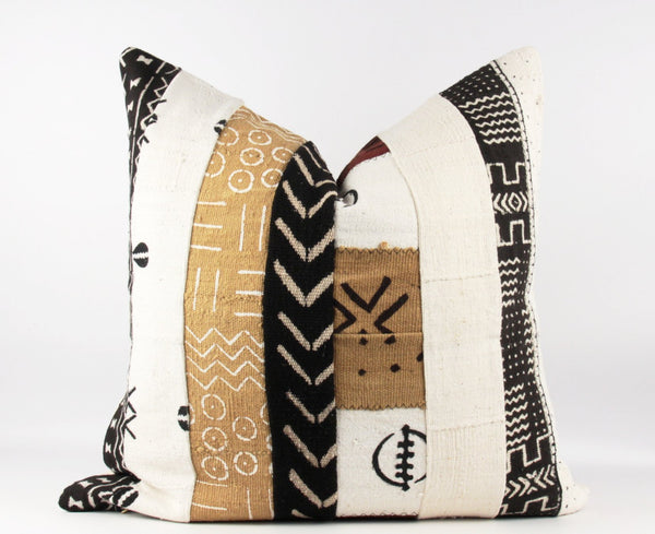 striped mixed mud cloth pillow
