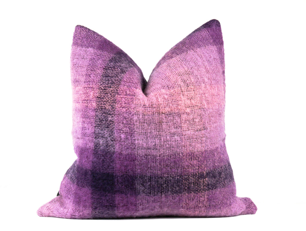 Purple designer mohair wool throw pillow