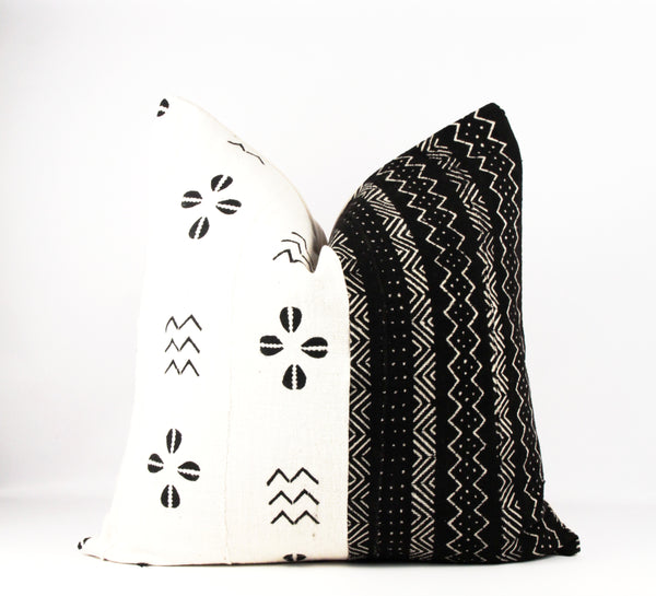 black and white mud cloth pillow