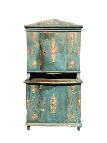 Anqitue German Painted Turquoise Hutch