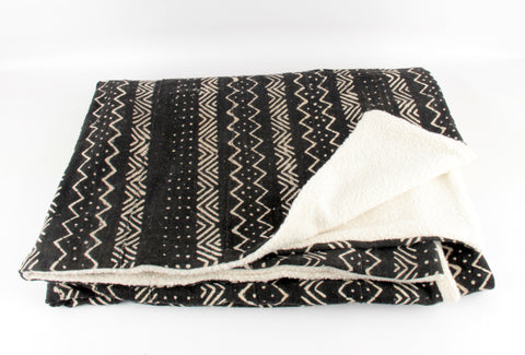 Pepper  Mudcloth Throw Blanket folded