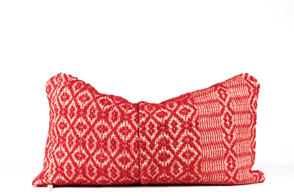 antique woven red pillow