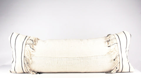 double fringe white mudcloth pillow