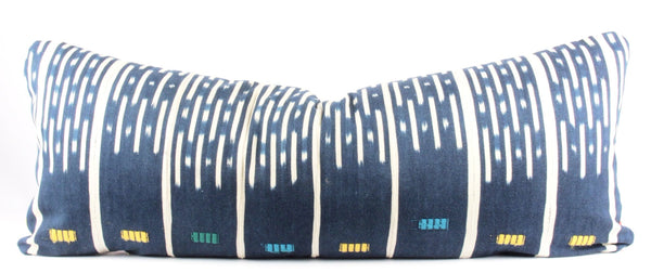 Embroidered Eastside Indigo Mudcloth Pillow  Large Lumbar front