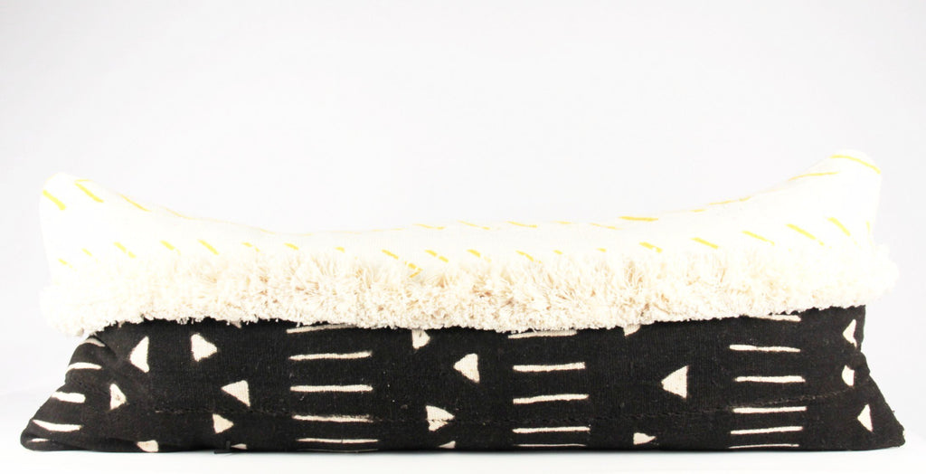 black fringe hand woven bed lumbar pillow