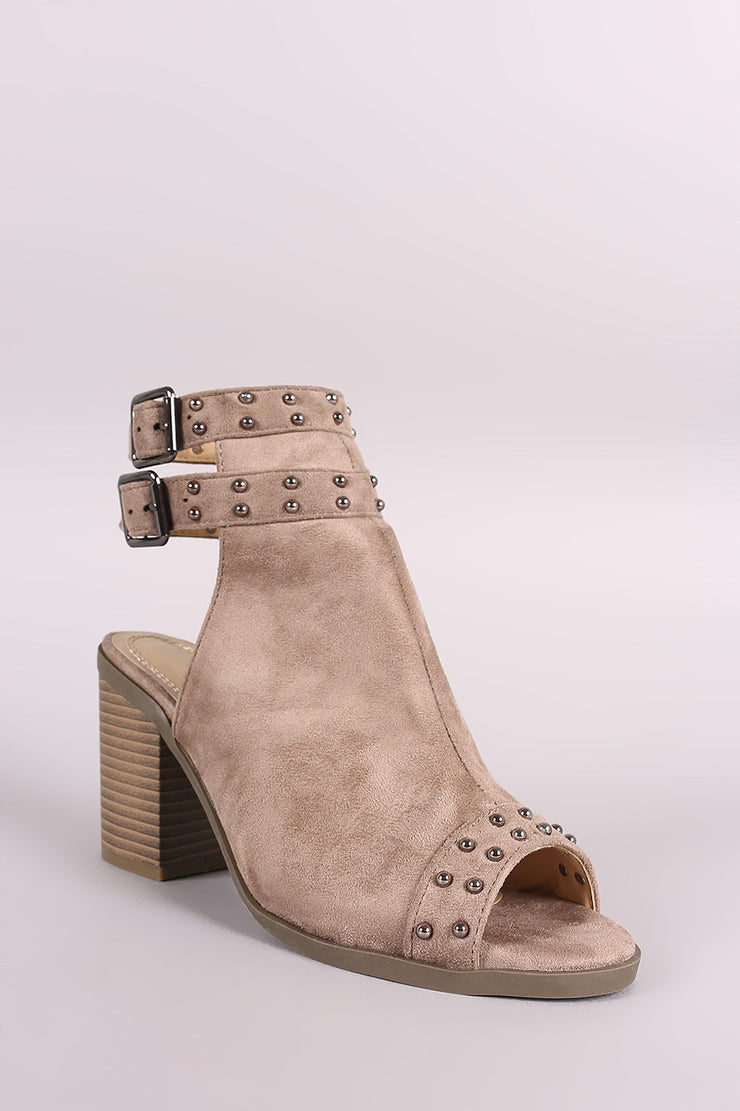 Suede Studded Open Toe Chunky Heeled Mules