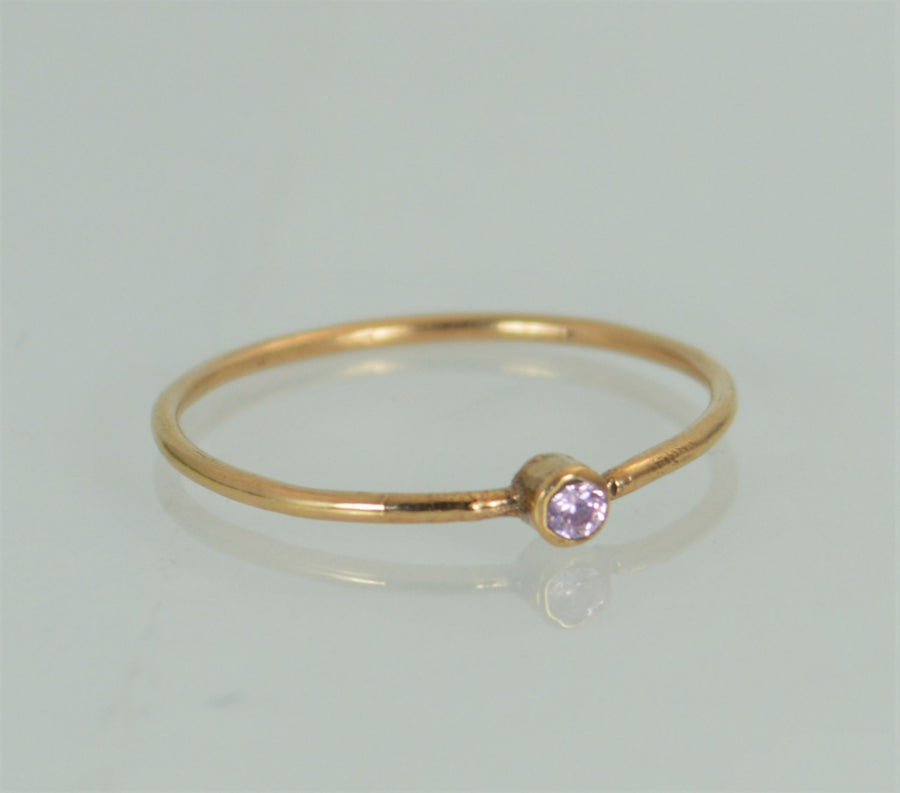 Tiny Rose Gold Pink Tourmaline Ring