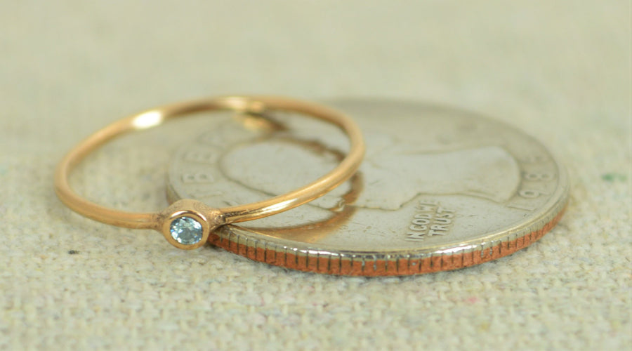 Tiny Rose Gold Filled Aquamarine Ring