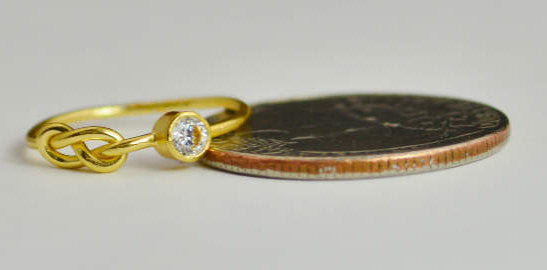 Solid 14k Gold CZ Diamond Infinity Ring