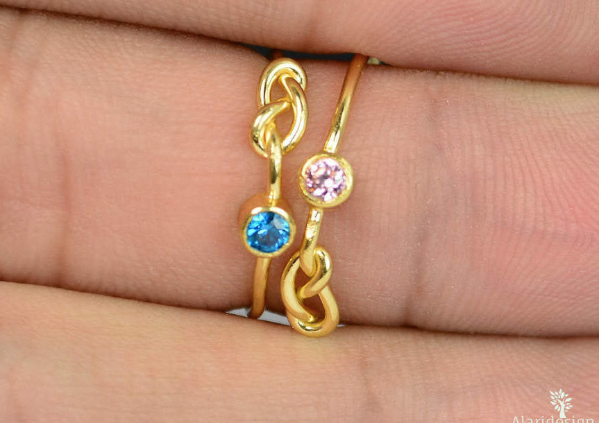 Gold Filled Blue Zircon Infinity Ring