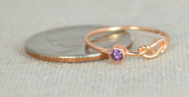 Rose Gold Filled Amethyst Infinity Ring