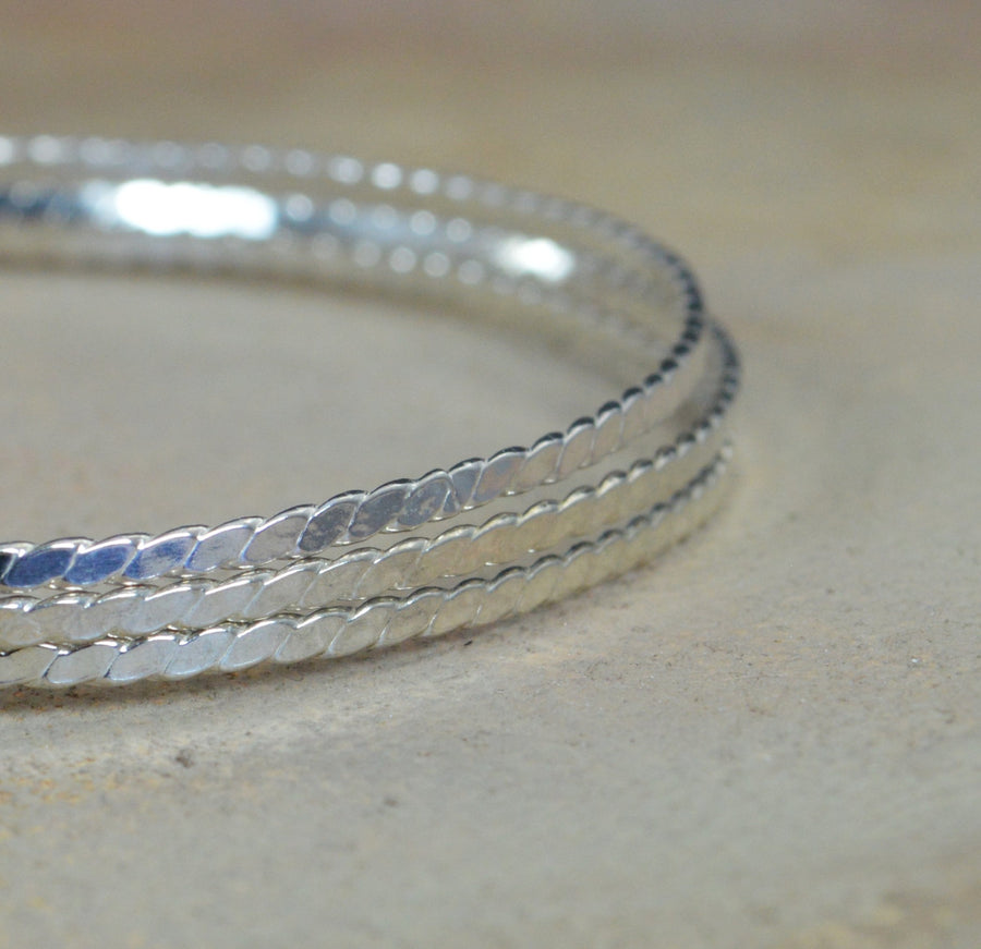 Thin Silver Flattened Twist Bangle