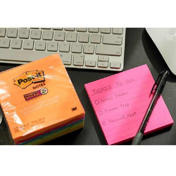 "Post-it® 654-5SSUC-C Super Sticky Notes, Rio de Janeiro Collection, 5 Pads/Pack, 90 Sheets/Pad, 3x3"" - 1HomeShop.sg"