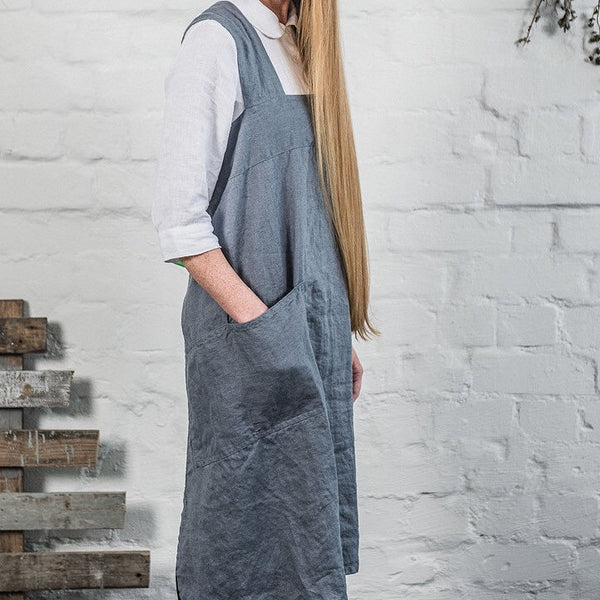 "New! Grembiule in lino ""Pinafore"" - grigio / grey"