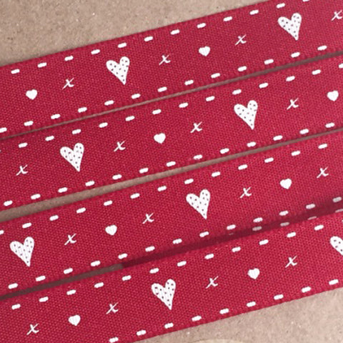 15mm Red & White Hearts & Kisses Ribbon - SweetpeaStore