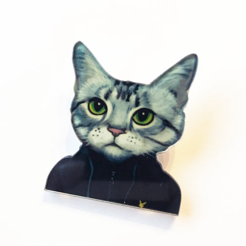 Quirky Casuals Dress-up Cat  Pin Badge - SweetpeaStore