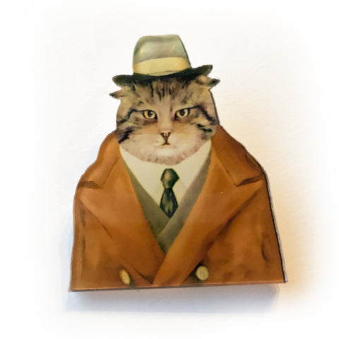 Quirky Gentleman Dress-up Cat Plastic Acrylic Pin Badge - SweetpeaStore