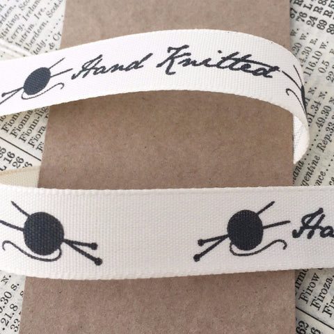 15mm Hand Knitted Printed Cream Ribbon - SweetpeaStore