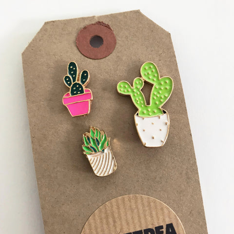 Set of 3 Cactus & Succulent Metal Pin Badge - SweetpeaStore