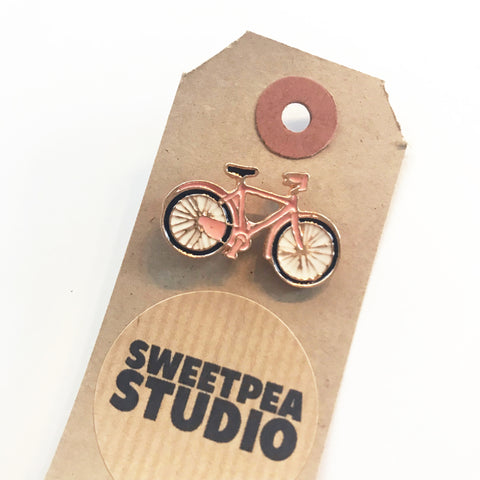 Pink Bicycle Enamel Gold Metal Pin Badge - SweetpeaStore