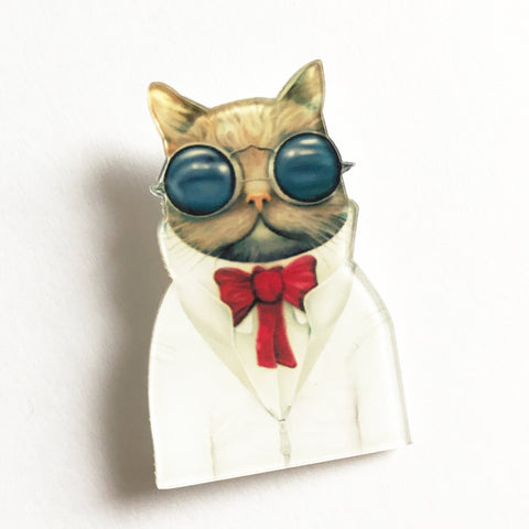 Quirky Sunglasses & Red Tie Cat Plastic Acrylic Pin Badge - SweetpeaStore