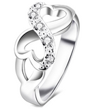 Sterling Silver Plated Cubic Zirconia Heart Infinity Symbol Ring - Gift For Women (Wedding, Anniversary, Engagement), Jewelry, Family Trophy, FamilyTrophy.com - FamilyTrophy.com