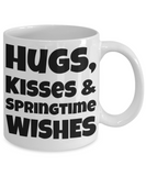 Hugs Springtime Kisses Mug Inspiration Mug White Coffee Cup 2017 2018 Gifts For Him Her Family Grandparent Grandma Granddad Wive Husband Couples Boyfriend Girlfriend Fun Coffee Cups Funny Holiday Sayings Mugs, Coffee Mug, Gearbubble, FamilyTrophy.com - FamilyTrophy.com