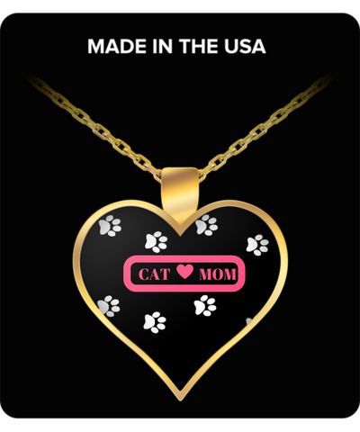 *Attention Cat Moms* Turn Your Jewelry into aPpiece of Purrrfect Cat Art! Hint: Purrfect Gift for Cat Lover Woman - Cat Mom Heart Necklace Pink, Necklace, Gearbubble, FamilyTrophy.com - FamilyTrophy.com