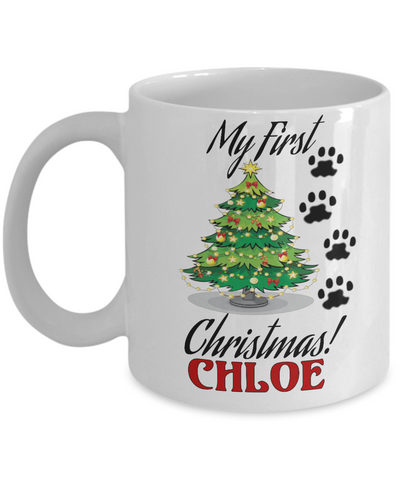 First Christmas Name Personalized Dog Mug Gift - Xmas 2016 Cup Gift For Puppies, Coffee Mug, Gearbubble, FamilyTrophy.com - FamilyTrophy.com