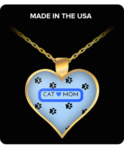 *Attention Cat Moms* Turn Your Jewelry into a piece of Purrrfect Cat Art! Hint: Purrfect Gifts for Cat Lovers Cat Mom Heart Necklace Blue, Necklace, Gearbubble, FamilyTrophy.com - FamilyTrophy.com