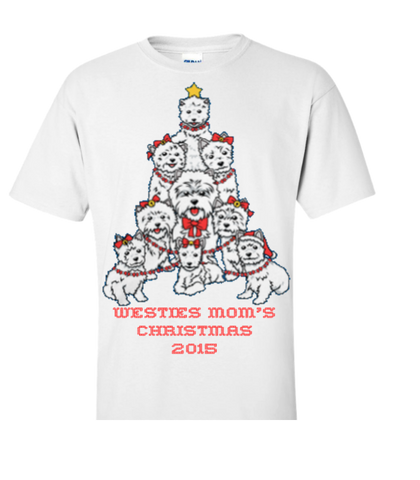 Westies Mom Christmas - Fun & Ugly Christmas Sweater For The Holiday Season 2015 - Great Gift For Westie Dog Moms, Apparel, Family Trophy, FamilyTrophy.com - FamilyTrophy.com