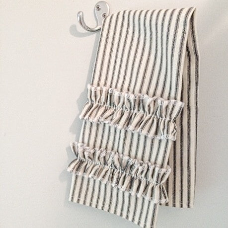 Ticking Stripe Hand Towel Black Ticking