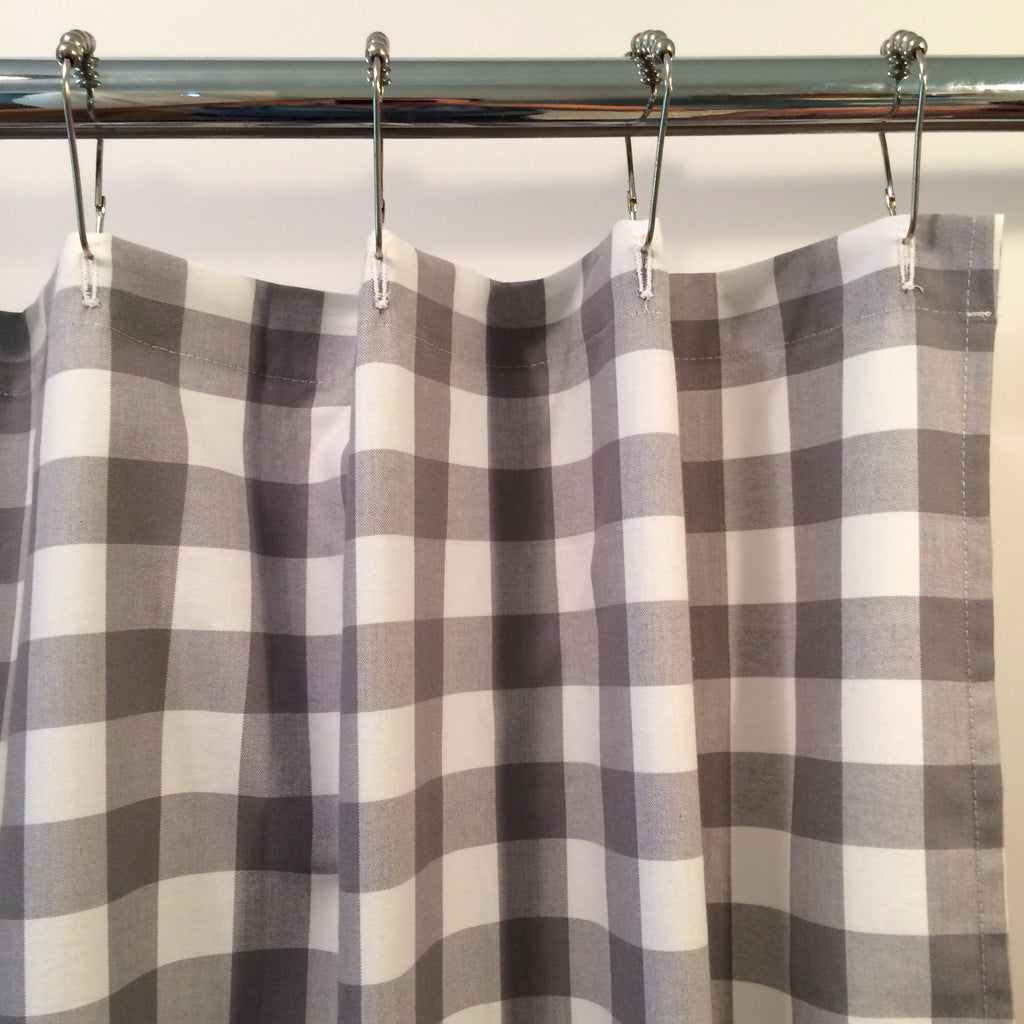 Buffalo Check Shower Curtain Gray and White